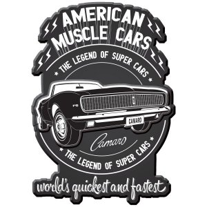 Placa de Metal Parede 45cm Muscle Cars - General Motors