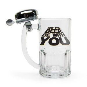 "Caneca de Vidro com Campainha Force ""May the Beer be with you"""