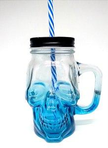 Copo Jarra Mason Jar Caveira com Alça - Azul