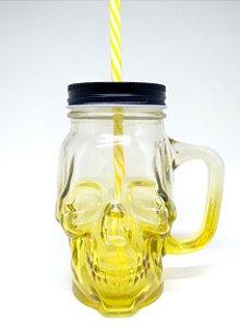Copo Jarra Mason Jar Caveira com Alça - Amarelo