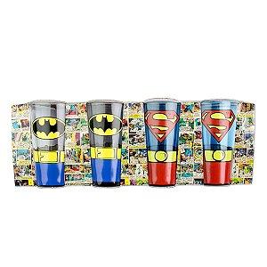 Conjunto 4 Copos Caldereta Batman e Superman - DC Comics