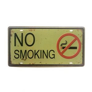 Placa Metal Decorativa No Smoking