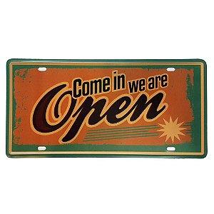 Placa Metal Decorativa We Are Open