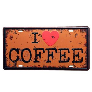 Placa decorativa Carro I Love Coffee