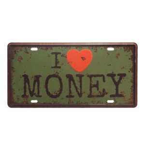 Placa Metal Decorativa I Love Money