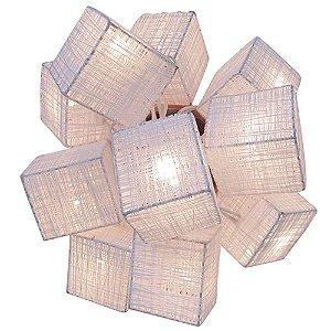 Cordão de Luz c/ 10 Luminárias Quadrado Branco