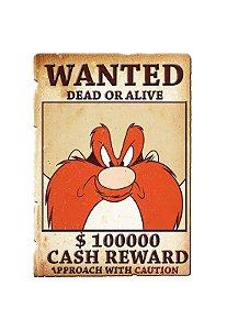 Placa de Metal para Parede - Yosemite Sam Procurado - Looney Tunes