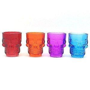 Conjunto c/ 4 Copos Shot Caveira Crystal Head Colorido