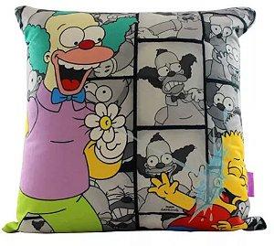 Almofada Aveludada 40x40cm - Krusty e Bart Simpson