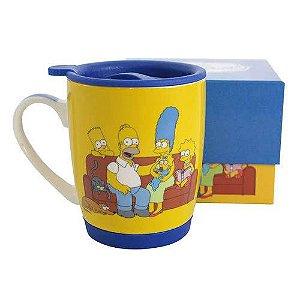 Caneca 350ml c/ Tampa e base de silicone - Família Simpsons