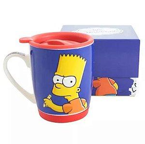 Caneca 350ml c/ Tampa e base de silicone - Bart Simpson