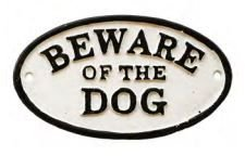 Placa de Ferro Rústica -  Beware of the Dog | Cuidado com o Cão
