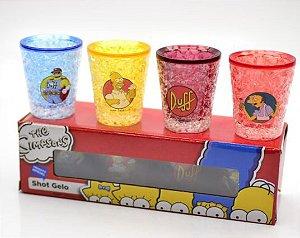 Conjunto 4 Copos Shot Gelo /Congeláveis - Os Simpsons
