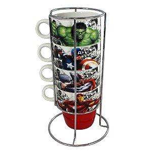 Torre com 4 Canecas e Suporte - Vingadores Marvel