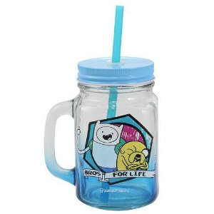 Jarra Vidro Canudo 450ml  Finn e Jake -  Hora de Aventura - Cartoon Network