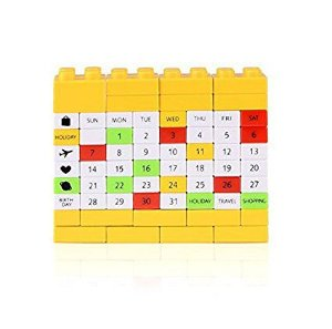 Calendário Blocos de Montar - Brick Calendar - Estilo Lego Amarelo