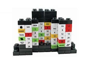 Calendário Blocos de Montar - Brick Calendar - Estilo Lego Preto