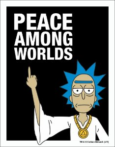 Placa Decorativa Peace Among Worlds - Rick and Morty