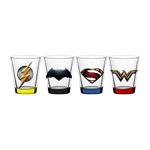 Conjunto 4 Copos Shot Liga da Justiça - DC Comics