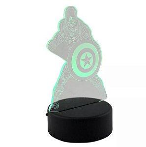 Luminária 3D LED Capitão América - Marvel