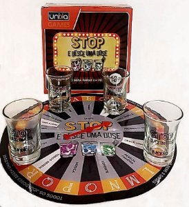 Jogo Tabuleiro Shot c/ 5 copos - STOP