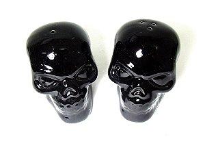 Conjunto Saleiro e Pimenteiro Caveiras Skull - Preto e Branco