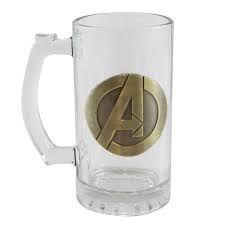 Caneca Vidro 450 c/ Brasão Metal Marvel - Avengers | Vingadores