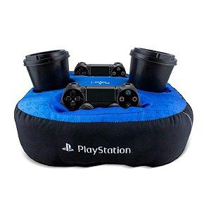 Almofada Azul Porta Controle e Copos Playstation Oficial