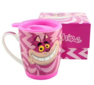 Caneca Porcelana c/Tampa 350ml Gato Chesire - Alice