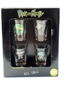 Conjunto c/4 Copos Shot 60ml Rick and Morty