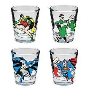 Conjunto Copos de Shot Super Heróis Ilustrações