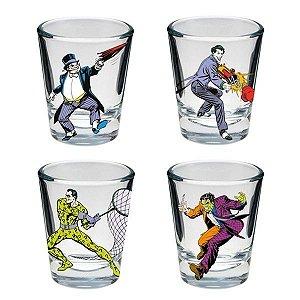 Conjunto Copos de Shot Ilustrações Vilões Batman