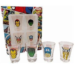 Conjunto 4 Copos Shot / Dose 60ml Avengers