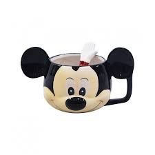 Caneca 3D Porcelana Rosto Mickey com Colher
