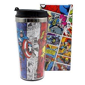 Copo de Viagem c/ Tampa 450ml Avengers Comics