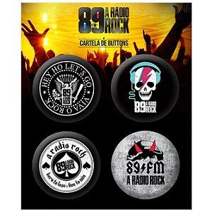 Conjunto com 4 Bottons / Pins 89 FM A Rádio Rock