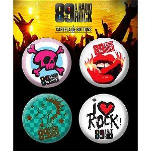 Conjunto com 4 Bottons / Pins 89 FM - I Love Rock