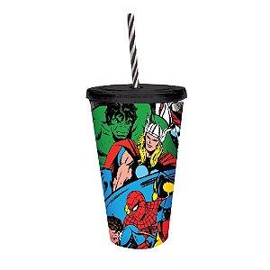 Copo Canudo PVC Turma de Heróis Marvel