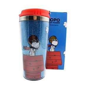 Copo p/ Viagem com Glitter 450ml Snoopy Sob Controle