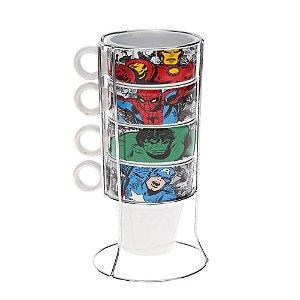 Torre com 4 Canecas e Suporte Marvel Comics HQ´s