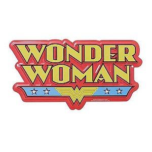 Placa de Aluminio Decorativa Recortada Logo Mulher Maravilha - DC Comics