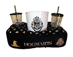 Kit Almofada Pipoca e Copos - Harry Potter Hogwarts