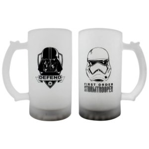 Conjunto 2 Canecas Vidro Fosco 450ml Star Wars - Darth Vader e Trooper