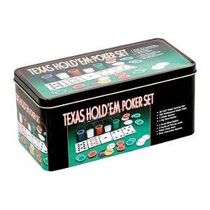 Jogo Poker 200 Fichas  Baralhos e Toalha - Texas Hold´em