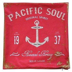 Almofada Aveludada Pacific Soul Vermelha 45 x 45cm