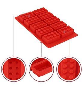 Forma de Silicone Gelo e Chocolate Bricks / Blocos Vermelho