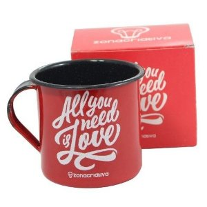 Caneca agata, Esmaltada, Retrô All We Need is Love
