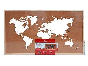 Quadro de Cortiça Mapa Mundi 60x40cm com Tachinhas