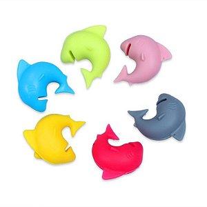 Conjunto 6 Marcadores para Copos e Taças Silicone - Tubarão