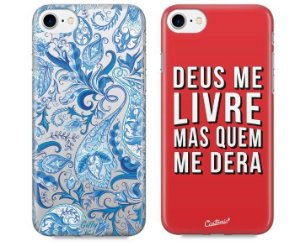 Capinhas para iPhone 7 Plus - Alpinia Blue / Deus me livre - Kit com 2 und